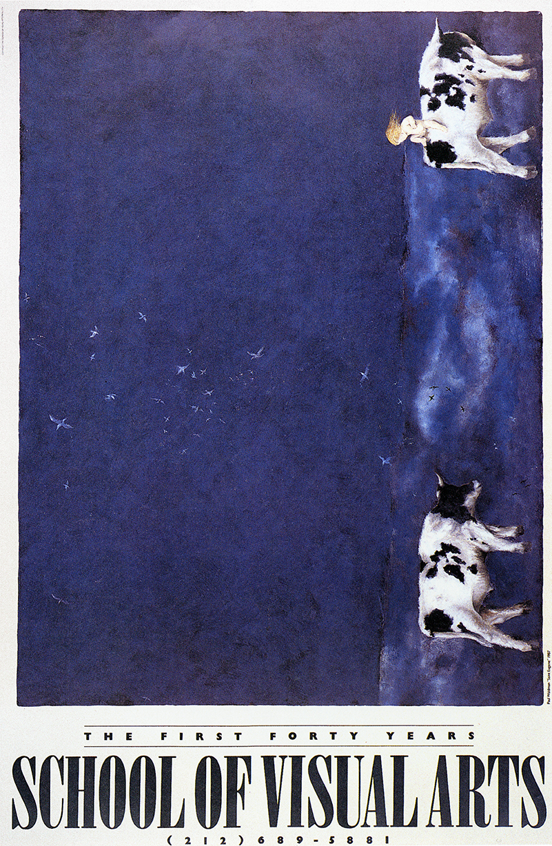 A primarily blue, horizontal painting placed vertically; two cows, one of which is carrying a human child and a flock of birds in the background are visible.