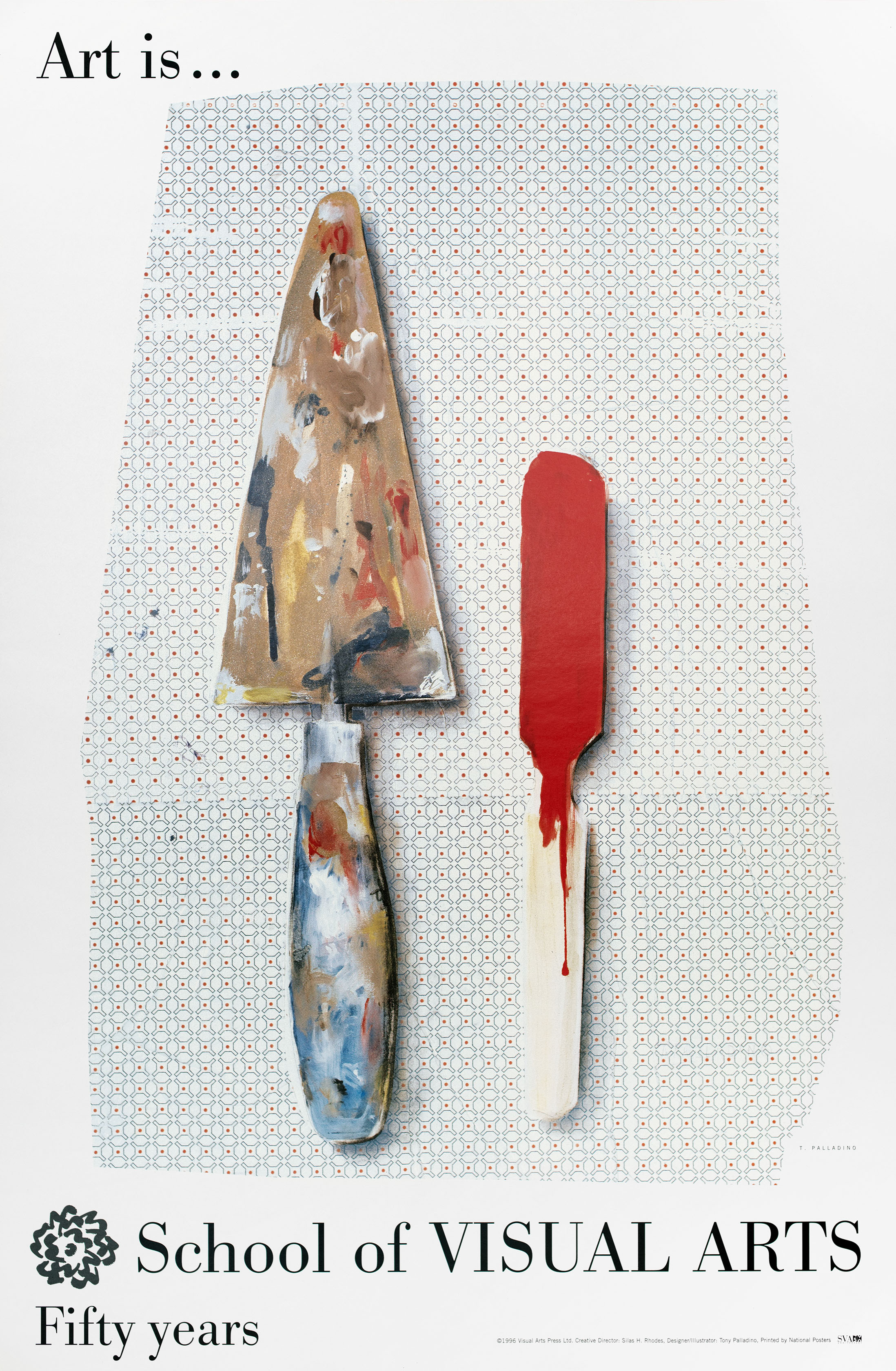 Color painting of a dirty paint palette knife and a red paint stick against a delicate red, black and white pattern.