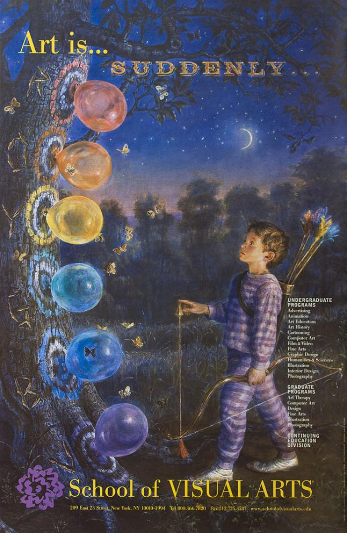 Realistic illustration of a boy in pajamas, holding archery equipment, looking at a tree with a rainbow of targets painted on them. Balloons are attached to the center of each target.