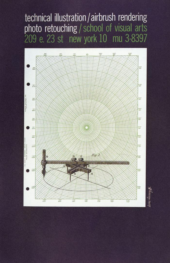 A technical illustration of an ellipse compass against a sheet of green co-ordinate graph paper.