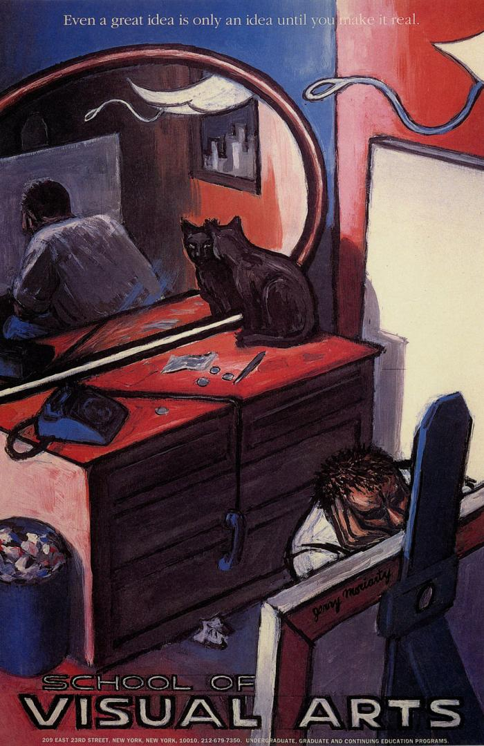 Painting focusing on the interior of a man's room as he ponders a painting; a red dresser with a phone, blank canvas, large mirror and black cat on top are visible.