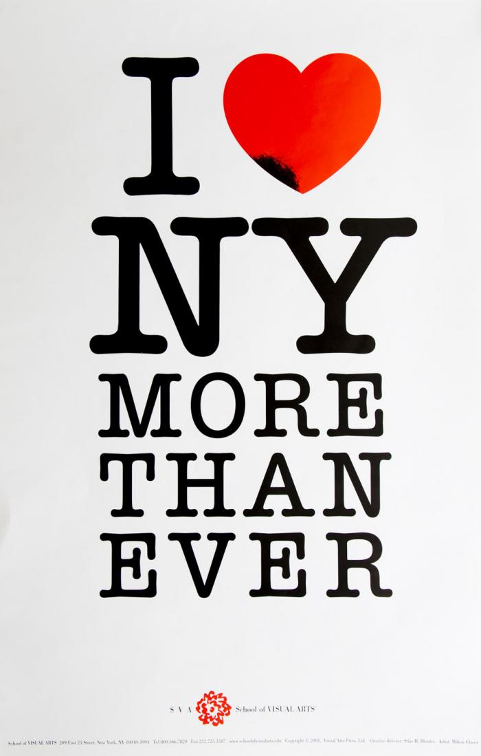 "Black and red text in a typewriter font against white background; text reads ""I (heart icon) NY more than ever."""
