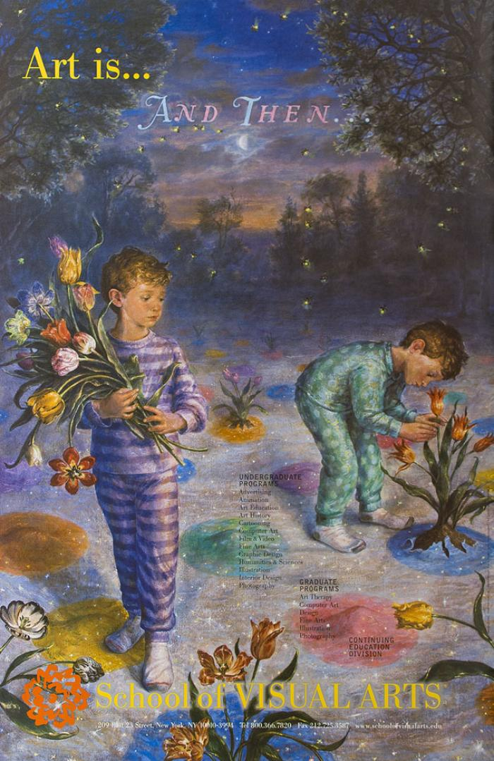 Realistic illustration of two boys in pajamas wandering in a forest, picking flowers that burst out of colorful spots on the ground.