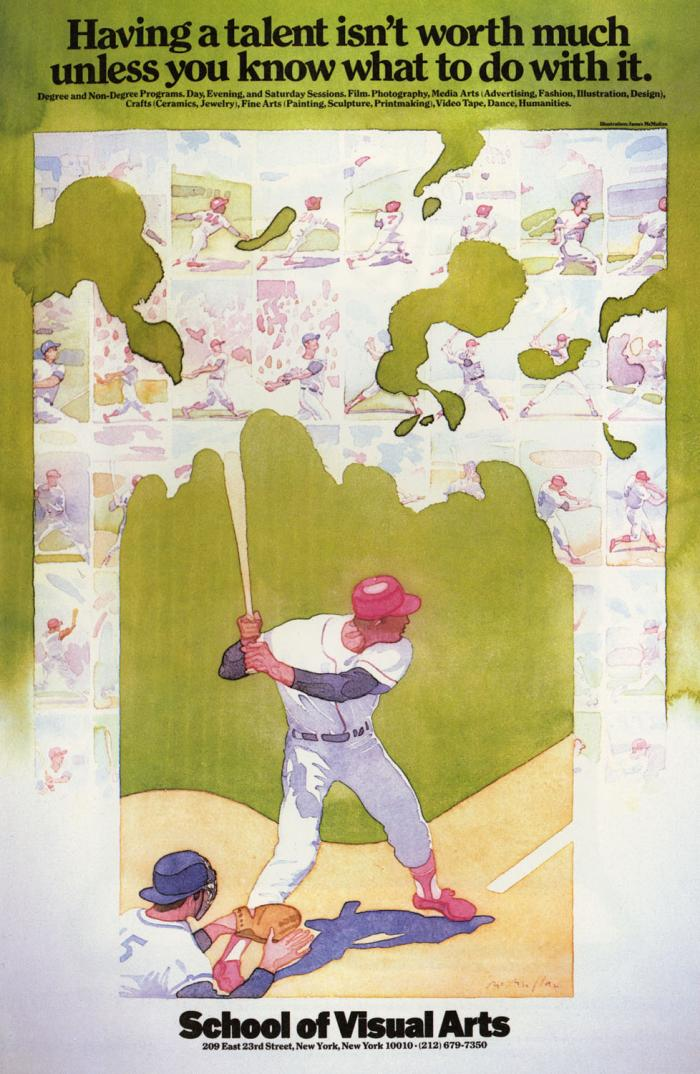Watercolor painting of a baseball player standing at bat, against a small grid of baseball scenes.