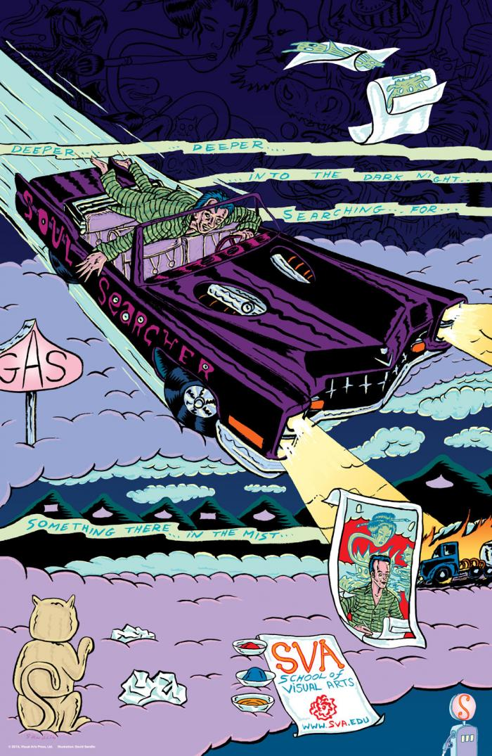 Colorful, surreal illustration of a man driving his car through the sky.