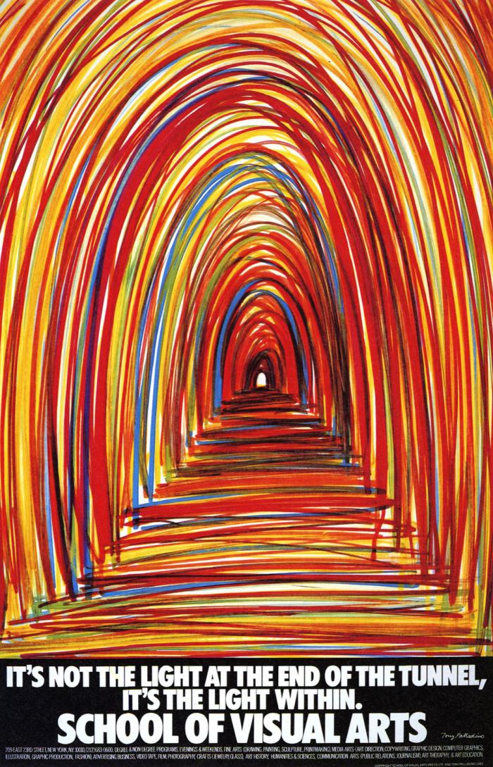 Colorful scribbled depiction of a tunnel interior.