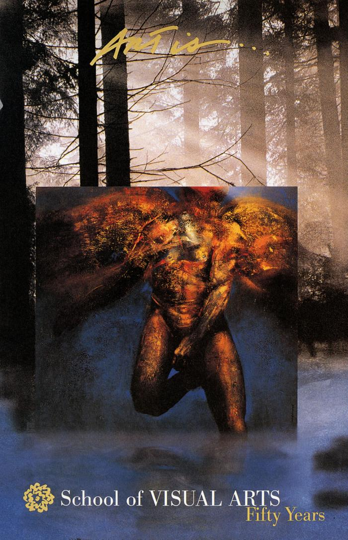 A square painting, depicting a monstrous male figure, placed in a misty forest.