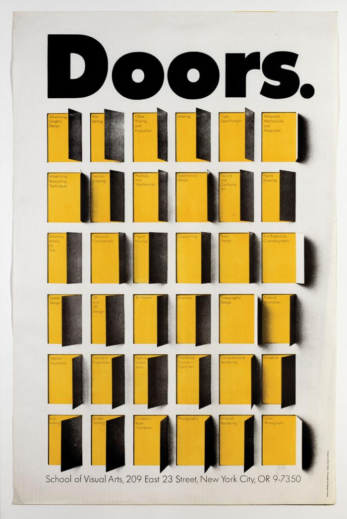 Illustration of a grid of yellow and black doors, each open to reveal a major of SVA (circa 1967)