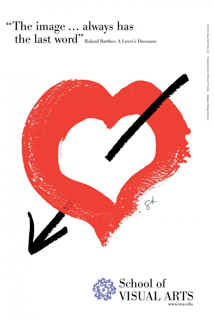 Red and black graphic of a hand-painted heart with an arrow through it against a white background.