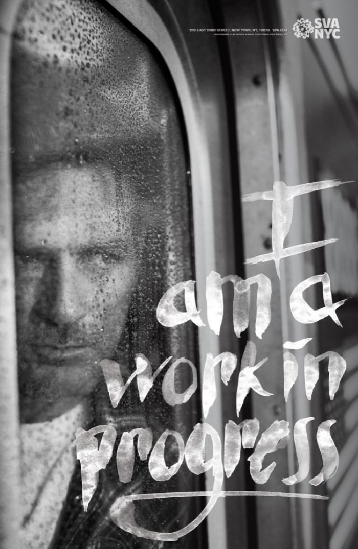Black and white photograph of a man looking out of a raindrop covered subway window. Text appears in white brush hand-lettering.