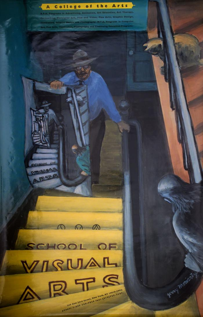 Color painting of a man and a cat looking down a staircase to see a man holding a poster of an identical scene.