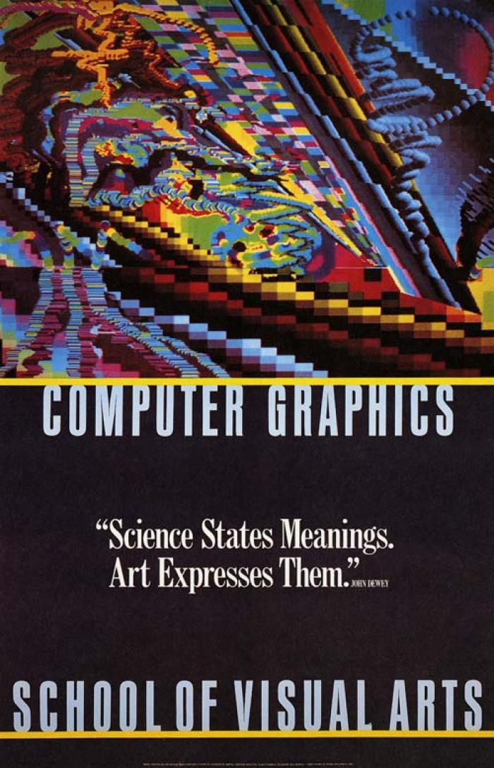 Colorful, abstract, computer-generated graphics against a black background.