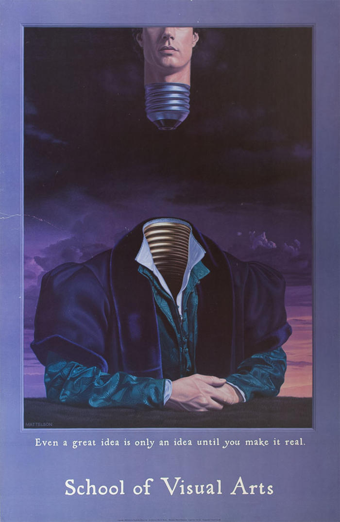 Color illustration of a headless man's portrait; his head is floating above him, the bottom of his neck covered in the bottom part of a lightbulb, implying it will turn on if screwed into the body.