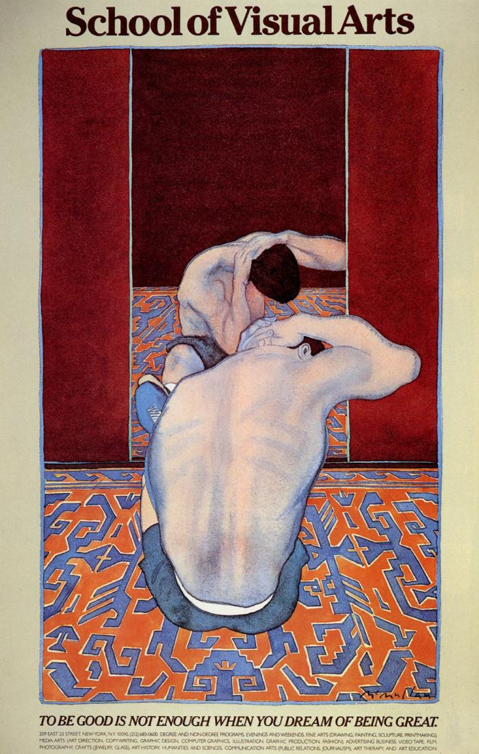 Color painting (primarily red and blue) of a man stretching on the ground, facing a mirror, his back towards the viewer.