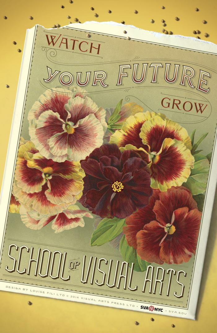 Color illustration of a vintage postcard of red and yellow flowers against a green background, against a yellow background.