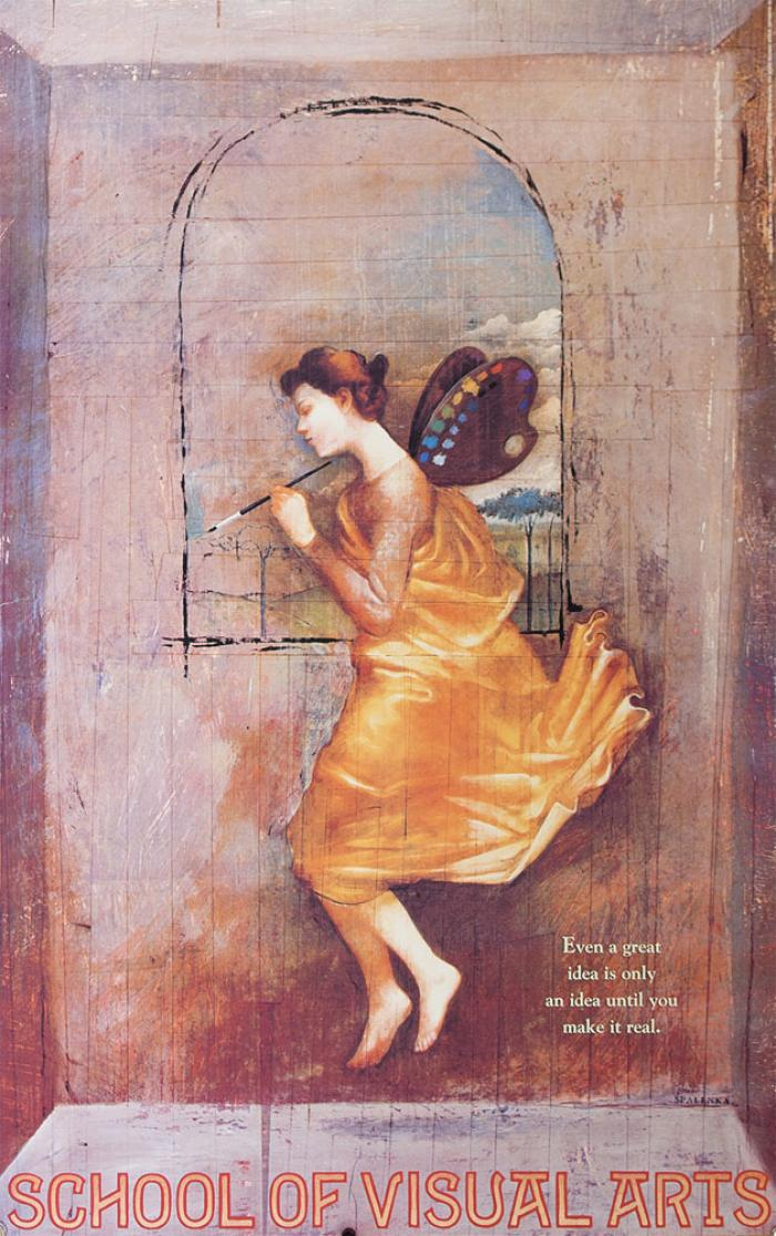 Painting of a female angel in a yellow dress, with paint palettes for wings, painting an arched window in an empty room.