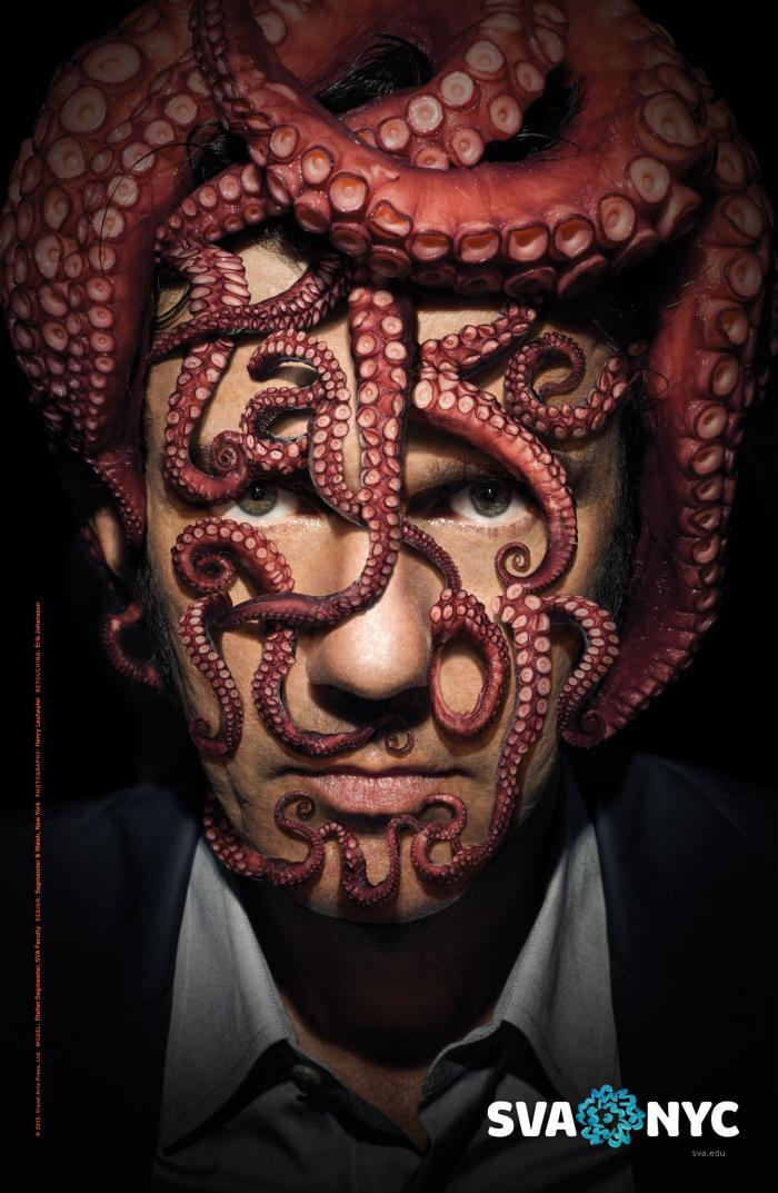 Portrait of a Stefan Sagmeister with a pink octopus on his head. Text is spelled out on his face using tentacles.