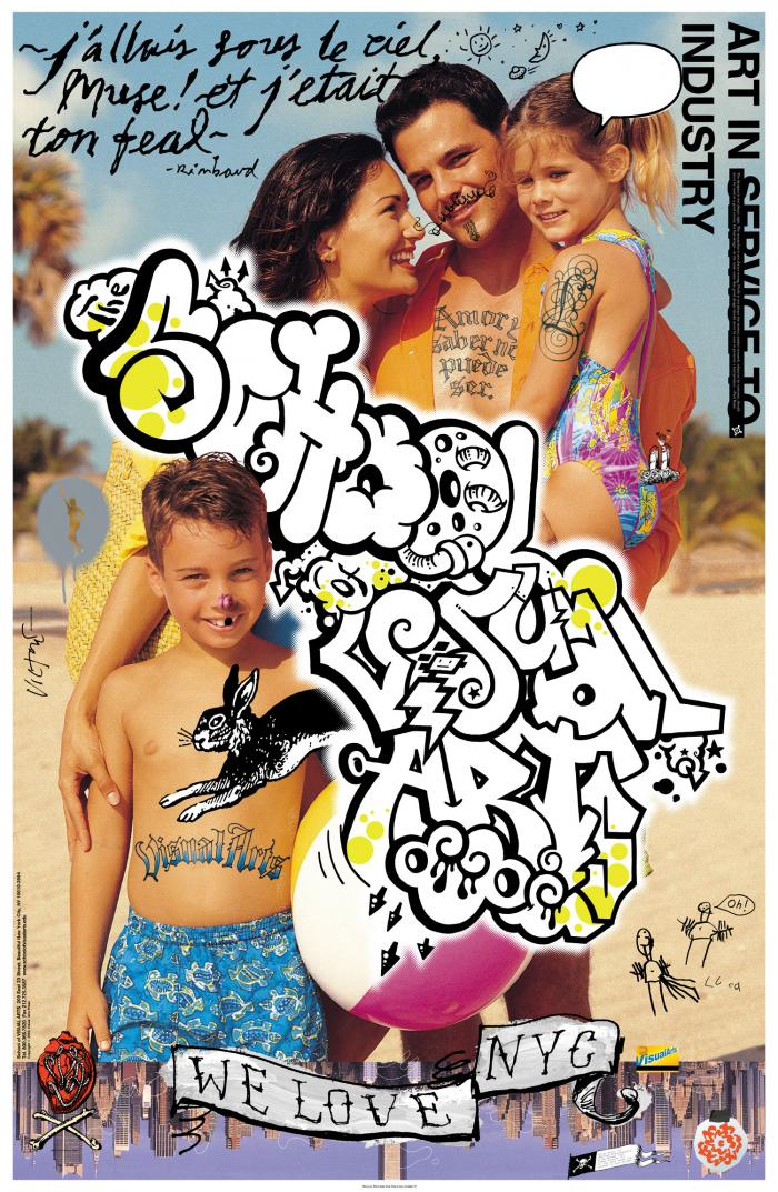 "Color collage and illustration on top of a beach portrait of a couple and their two young kids. ""School of Visual Arts"" is in a handwritten, graffiti-style font."