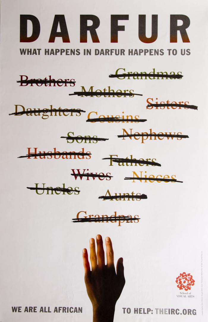Names of human personal relationships (brother, aunt, etc.) are crossed out; below, there is a photograph of a human hand made up of varied skin colors.