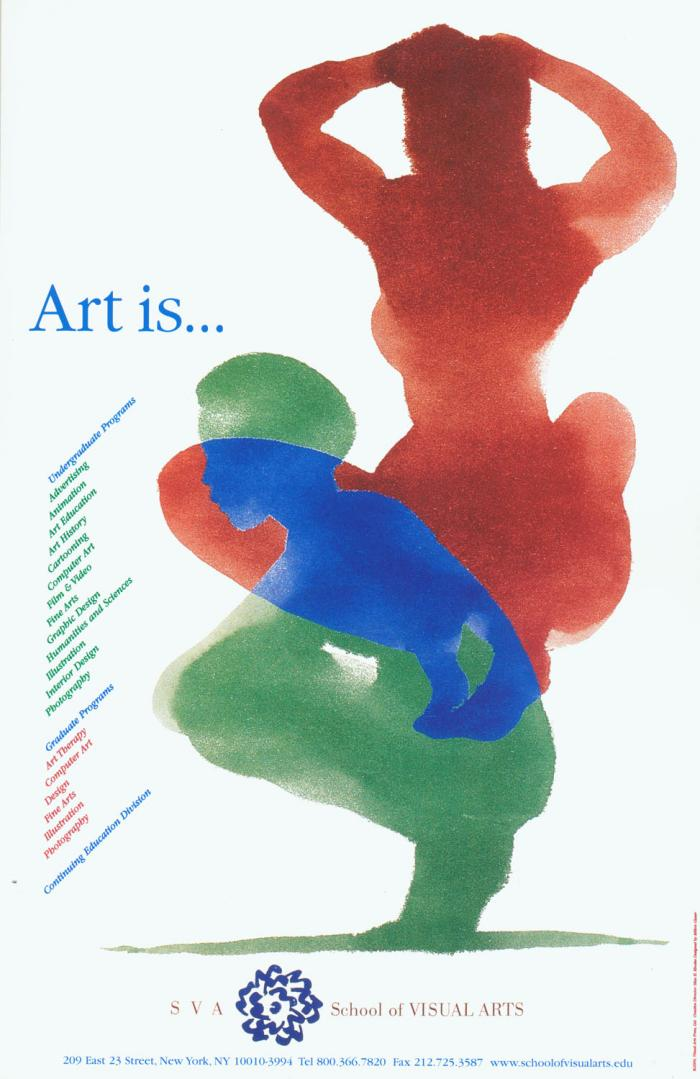 Overlapping watercolor silhouettes against a white background of two crouching figures; one red, the other green; where they overlap is colored blue.