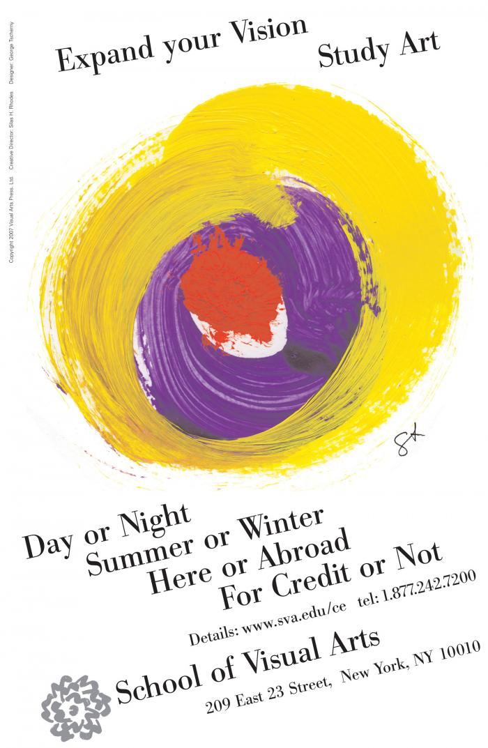 Diagonally oriented text against a white background, centering a yellow purple and red paint splotch.