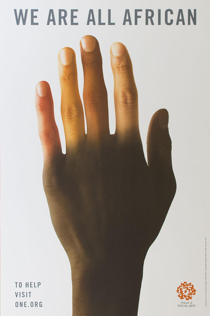 Photographic close-up of a human hand, modified to have varied skin colors against a white background.