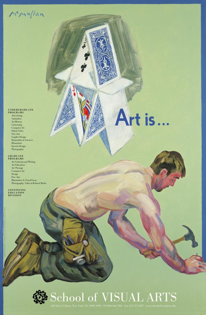 Painting of a shirtless man hammering in a nail on the ground; above him is a stacks of playing cards against a green background.