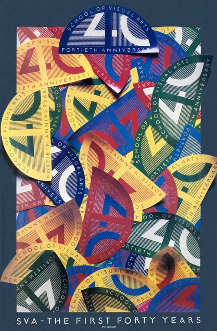 Photograph of a large collection of colorful SVA fortieth anniversary half-moon shapes.