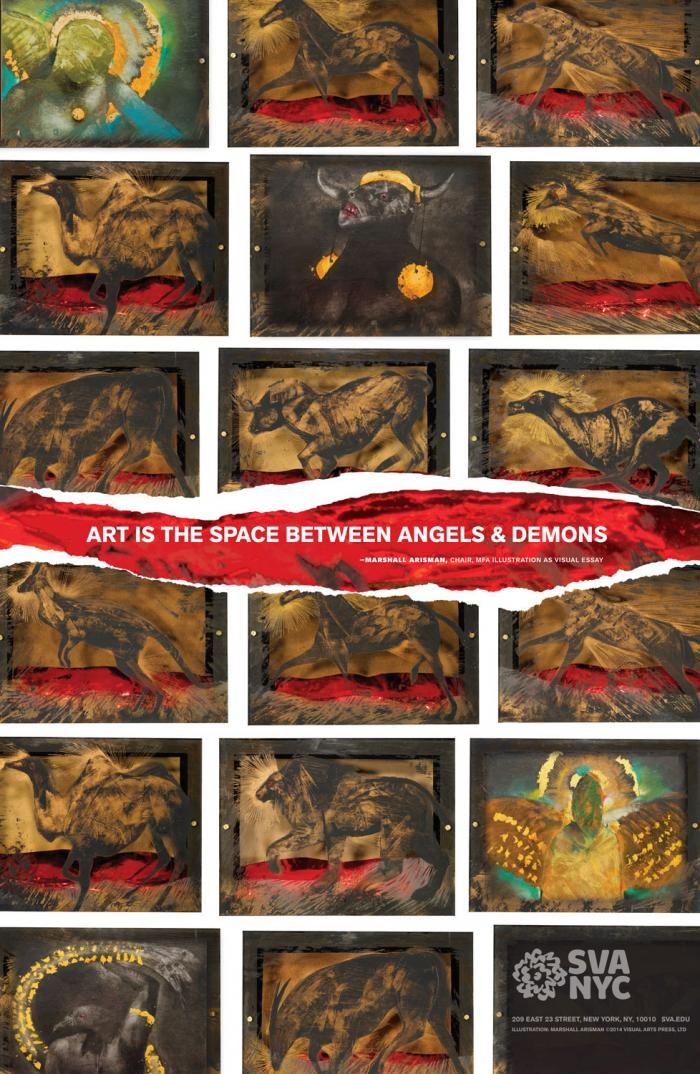 An arrangement of boxes containing dark images of rough, partially collaged drawings of angels, demonic creatures and animal silhouettes. Text is contained in a large horizontal rip.