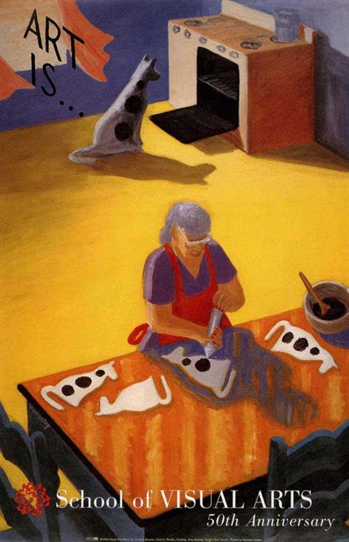 Color painting of an older woman decorating dog-shaped cookies; in the background, an identical dog looks into the oven.