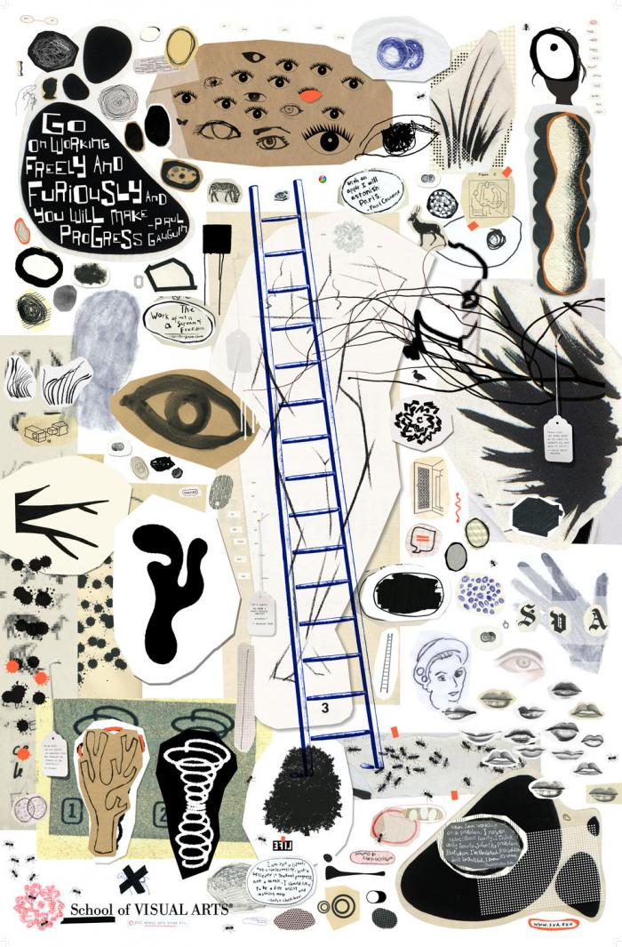 Collage and illustration of various objects including eyeballs, a blue-ink ladder, ants, and textures against a white background.