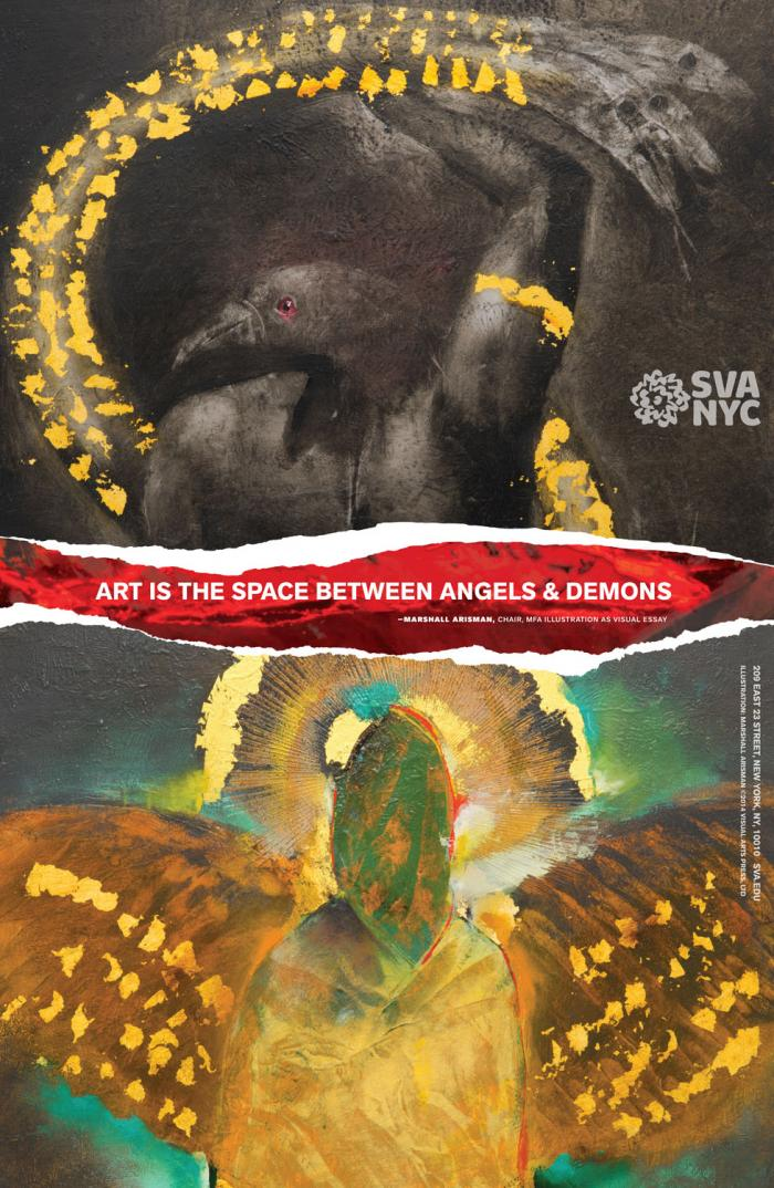 Text is contained inside a red rip, separating two images of angelic and demonic figures done in paint and collage.