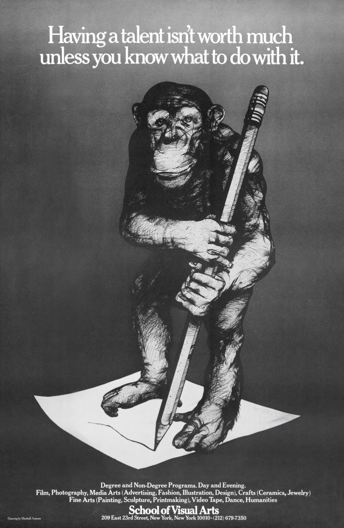 Detailed black and white illustration of a chimp holding a large pencil and drawing on a piece of paper.